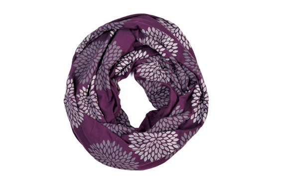 INFINITY SCARF - Screen Printed - Gray Flowers on Plum - Cyber Monday