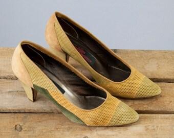 1970s Vintage Mesh Suede Color-block Italian Pumps. 80s Heels (size 6 1/2 B)