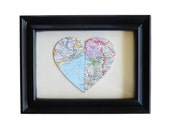 One Heart. Two Locations. Custom Map Location in a Black Frame. 5x7.