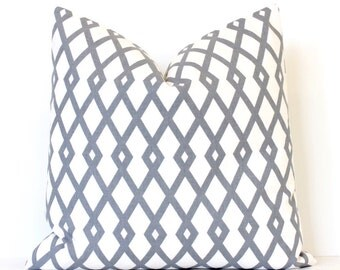 Grey Modern Lattice Designer Pillow Accent Throw Cushion Cover hollywood regency imperial modern geometric cream trellis grey neutral