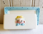 Vintage Brinnco Little Lamb Butter Dish - Made in Japan - Light Blue with Polka Dots - Mid-Century 1950s - Anthropomorphic