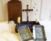Vintage Last Rites and Sick Call Cabinet - Home Priest's Box - Roman Catholic Religious Supply - Visitation Box