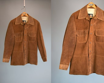Vintage 1970's BONDS Brand Suede Leather Snap Button Up Western Jacket Men's Size Medium Retro Hipster Hippie Country Ranch Wear Vtg