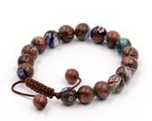10mm Round Flower Prayer Beads Wrist Bracelet Tibetan Buddhist  T3279
