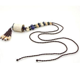Carved Ox Bone Barrel Six True Word Mantras Bead Netsuke Pendant Beads  N000-NG004