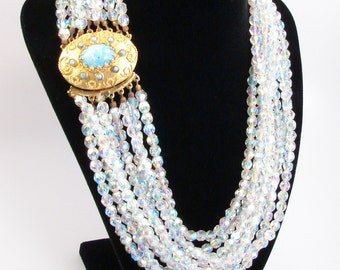 Multi Strand Crystal Necklace, Faux Turquoise Clasp, Vintage Jewelry, 8 Strand Necklace, Torsade Necklace, AB Crystal, Estate Jewelry