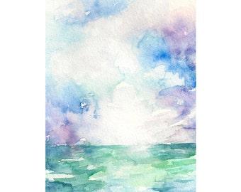 Colored Sky: Original Ocean Landscape Watercolor Painting