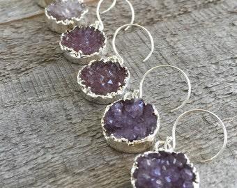 Druzy Earrings, Drusy Earrings, Druzy Quartz Jewelry, Drop Earrings, Sterling Silver