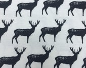 Black Bucks -  FLANNEL Fabric - 13 inches