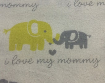 Elephants - I Love My Mommy  - Flannel Fabric - BTY