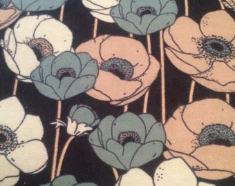 Blue Poppies - Flannel Fabric BTY