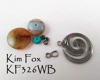 Large Spiral Clasp - One and a half by One Inch Two Sided Clasp/Pendant in White Bronze Designed by Kim Fox