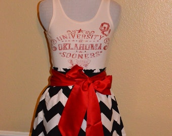 Oklahoma Sooners OU Gameday Tank Top Red Black White Chevron Football Dress with Black Sash Bow - Small