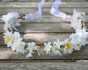 Daisy, Bridesmaide flower Crown, Purple, bridal headpiece, wedding flower crown, rustic head wreath, wedding headband, bridal hair