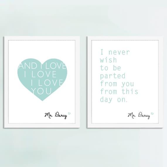 Mr. Darcy quotes, Mr. Darcy Art, Jane Austen Art,  Set of 2 - 8x10 Art Prints