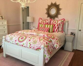 Pink Lime Suzani Damask Duvet cover, Toddler / Dorm Twin / Twin Duvet