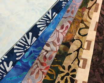 8 Komo Batik Batiks Quilt Fabric Fat Quarters ~ Warm