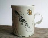 Big owl, a handmade porcelain mug.