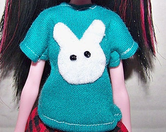 Handmade monster High doll clothes - white rabbit/bunny teal t-shirt