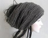 Men Women Black Slouchy Beanie Dreadlock Tam Winter Beanie Hat For Dreads Black Winter Hat Oversized Hat in Black Hat recyclingroom