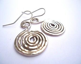 Sterling Silver Earrings, Spiral Earrings
