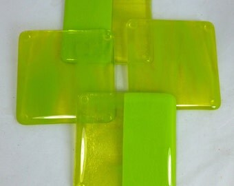 Zingy Lime Green Fused Glass Coasters - set of 4