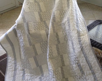 """Silver Anniversary Quilt - Silver/Off-White Fabrics - 54"""" x 76.5"""" - Contemporary/Modern - Ready to Ship"""