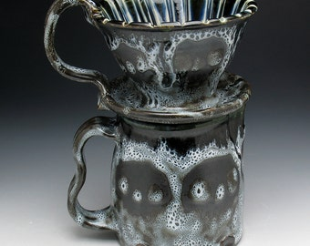 Skull Coffee Pour Over Filter Set, Painterly Gothic Skulls Pour Over Coffee Maker and Pitcher Set