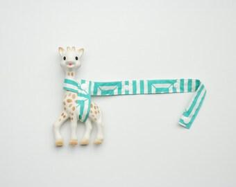 Toy Holder - Aquamarine geometric with cream snaps