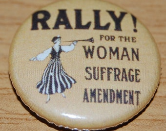 Rally for Women's Suffrage Photo Button Badge 25mm / 1 inch Suffragette Feminist Emmeline Pankhurst