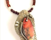 ON SALE Red Ammolite and fine silver textured pendant metal clay silver
