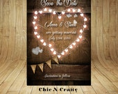 "DIY Printable Rustic Wood Save The Date 4"" x 6""/5"" x 7"""