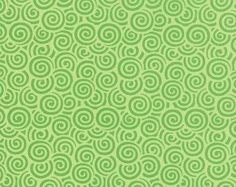 WINTER SALE Moda Fabric HI-De-Ho Me & My Sister 1/2 Yard Green Swirls 22255-15