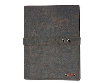 Executive Padfolio in Chocolate Grizzly Leather with Chocolate Grizzly Strap Made in the U.S.A. - EX-GZGZSTP-PDF