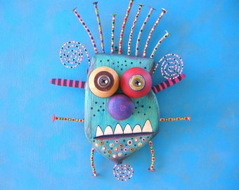 Bobby Monster, Original Found Object Wall Sculpture, Wood Carving, Wall Decor, Unique Gift, Painted Sculpture, By Fig Jam Studio