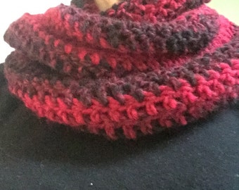 Red and black crochet infinity scarf