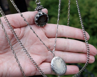 Dramatic Goldette Necklace, 4 Strands with Intaglio Cameo and Locket