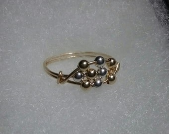 14k Gold and Sterling Silver Worry Ring