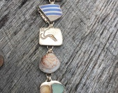 Sterling Beach bracelet with bezel set beach stones, glass, shell and pottery!