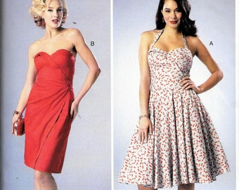 Butterick BP278 Halter Strapless DRESS Retro Vintage 1950s, 1960s Style Sewing Pattern By Gertie Size 4, 6, 8, 10 and 12 UNCUT