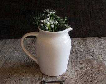 White Farmhouse Pitcher Vase