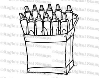 Box of Crayons Digital Stamp Image