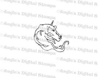 Unicorn Head Digital Stamp Image