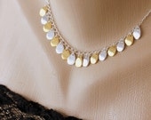 Silver Gold Necklace, Two-Tone Necklace, Chain Necklace, Charm Necklace, Mixed Metal, Bridal Jewelry, Modern, Teardrops, Valentine Gift Her