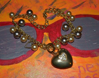 Heart Necklace Goldtone and Beads  Madonna Style Boho Paris Chic