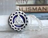 Vishuddha chakra necklace, fifth chakra, chakra jewelry, meditation jewelry, yoga jewelry, unique gift, sacred geometry, mothers day