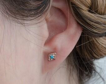 Boho Diamond and Turquoise Stud Earrings, Gold Plated, Sterling Silver, Geometric Minimal Earrings, Lunaijewelry, Gift  STD074TRQ