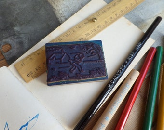 """Vintage FRENCH rubber stamp from school - Weather theme """"the wind"""""""