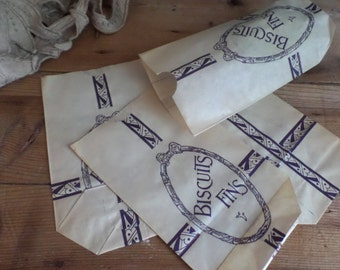 3 vintage 1930s French grocery paper bags biscuits