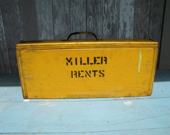 Vintage MILLER RENTS tool box Black writing on old yellow paint